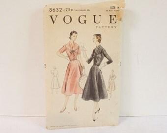 Vintage 1950s Vogue One Piece Dress Pattern 8632 size 14