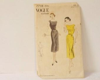 Vintage 1950s Vogue One Piece Dress Pattern 7718 size 14