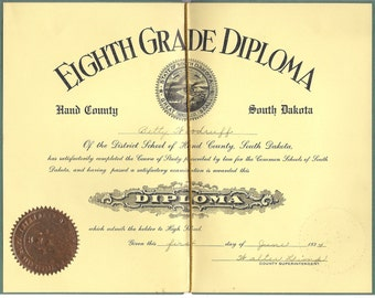 1934 Eigth Grade Graduation Package for Repurposing, Hand County SD