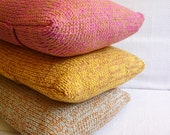 Small Knitted Pillow Case - Caramel + Pink
