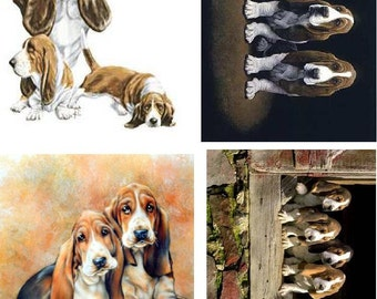 Lot Of 4 Basset Hound Dogs Fabric Panel Square Quilt Blocks
