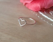 Sterling Silver Open Heart Ring, Small Ring, Simple,  Bridesmaid Gift