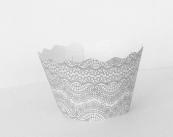 Dove Gray Lace Cupcake Wrappers Vintage Look