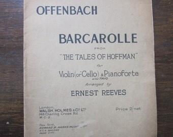 Offenbach Barcarolle Tales of Hoffmann 1936 ed.