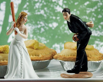 Ready To Hit A Home Run Baseball Bride with Groom Pitching Wedding Cake Topper- Fun Romantic Mix or Match Figurine Pieces Sold Separately