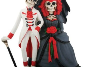 Halloween Love Never Dies Bride Groom Day of the Dead Gothic Wedding Cake Toppers-All Year Skull Goth Resin Romantic Skeleton Figurines-CR2