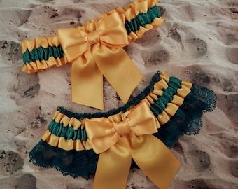 Yellow Satin Hunter Green Lace Wedding Bridal Garter Toss Set