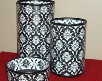 Black and White Damask Desk Accessory Set, Gift for Coworker, Pencil Holder, Pencil Organizer, Office Organization, Office Decor - 785