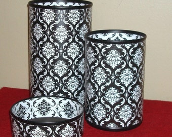 Black and White Damask Desk Accessory Set, Gift for Coworker, Pencil Holder, Pencil Organizer, Office Organization, Office Decor - 653