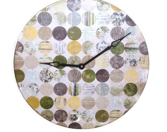Botanical Wall Clock, 12 Inch Large Wall Clock, Nature Clock, Cottage Chic Wall Clock, Vinyl Record Clock, Home Decor, Wall Decor No. 1141