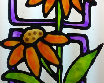 Two Daisy geometric stained glass window cling