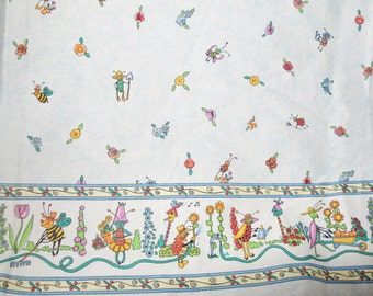 Fabric lady bug, bee, flowers, light blue,  girl dress or curtain material, bug border in garden1 yard, 2 yards available