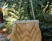 Stunning Vintage Hilde Walborg Golden Glass Micro Bead and Bugle bead Elegant cocktail Handbag