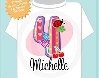 4th Birthday shirt, Four Year Old Shirt with Name, Fourth Birthday Shirt, Fancy Number 4th Birthday, Personalized Girls Birthday (11132013a)
