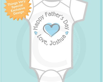 Happy Father's Day Onesie,  New Dad Gift, Personalized Fathers Day Onesie or Tee shirt with Blue Heart (03112014c)