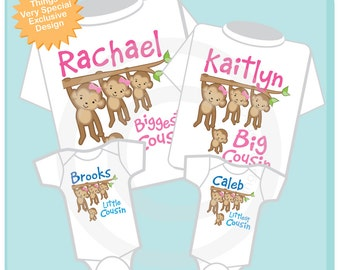 Set of Four Biggest Cousin, Big Cousin, Little Cousin and Littlest Cousin Tee Shirts or Onesies with Monkeys (05202014c)