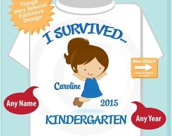 Personalized I Survived Kindergarten Shirt, Kindergarten Graduate Shirt, Child's Graduation Shirt (06062014c)