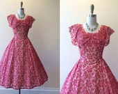1950s Dress - Vintage 50s Dress - Red Silver Lace Princess Party Dress M - Lipstick Kiss