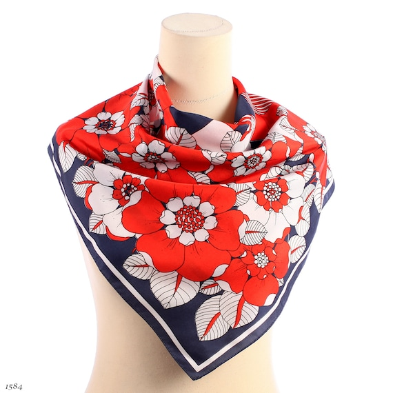 BLOSSOM TREE Scarf . Red Blue White Apple Blossoms Print Patriotic colors Vintage Neck Shawl Retro Muffler Unisex Urban Neckwear Women Gift