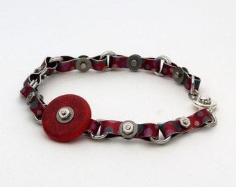 Red Micro Hardware Playful Aluminum Bracelet - 8 inch