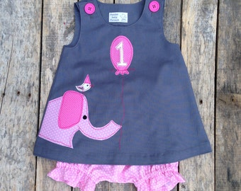 Pink Elephant Ellie and Friend First Birthday Circus Dress and Bloomer