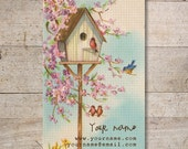 Business Cards - Custom Business Cards - Jewelry Cards - Earring Cards - Display Cards - Vintage Birds in Branch, Birdhouse - No. 128