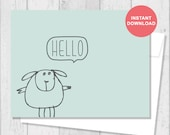 Printable Card - Instant Download - Digital Template - Note Card - Includes Printable Envelope A2 - Hello Sheep - G5