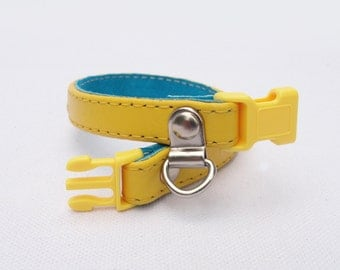 Personalized Cat Collar -  Leather/suede with customized colors and Breakaway safety Buckle