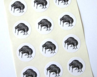 Kiwi Bird Stickers One Inch Round Seals
