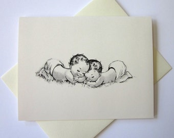 Baby Twins Cards Set of 10 in White or Light Ivory with Matching Envelopes