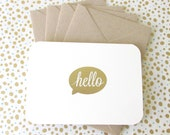 hello ~ gold embossed~ set of 4 folded blank notecards