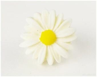 Daisy Ring, Adjustable, Silver Plated - Gyaru, Boho, Flower Jewelry