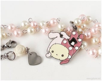 Sentimental Circus Shappo Necklace, Pastel Pink and Beige Pearl Chain - Sweet Lolita, Kawaii