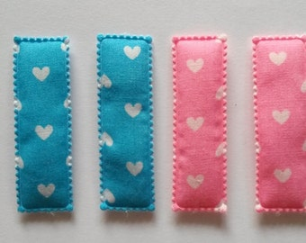 25 pcs - Cute Heart Printed Rectangular Hair Clip COVERS size 55 mm Pink and Blue