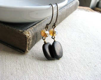Beaded Wood Earrings Glass Beads Wood Squares Minimalist Bridal Boho Chic Statement Modern Pink Tan Brown