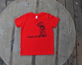 Star Wars T-Shirt AtAt Walker design American Apparel shirt for kids in Bright Red