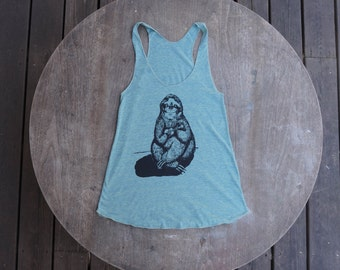 Sloth Playing the Ukulele Tank Top American Apparel Teal /Mint Green Tank for Women