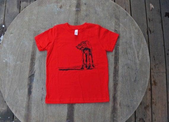 Star Wars T-Shirt AtAt Walker design American Apparel shirt for kids in Bright Red