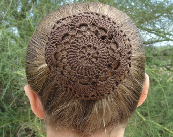 Crochet Hair Net Bun Cover Pattern : Hair Net / Bun Cover Crocheted Brown Flower Style Amish Mennonite