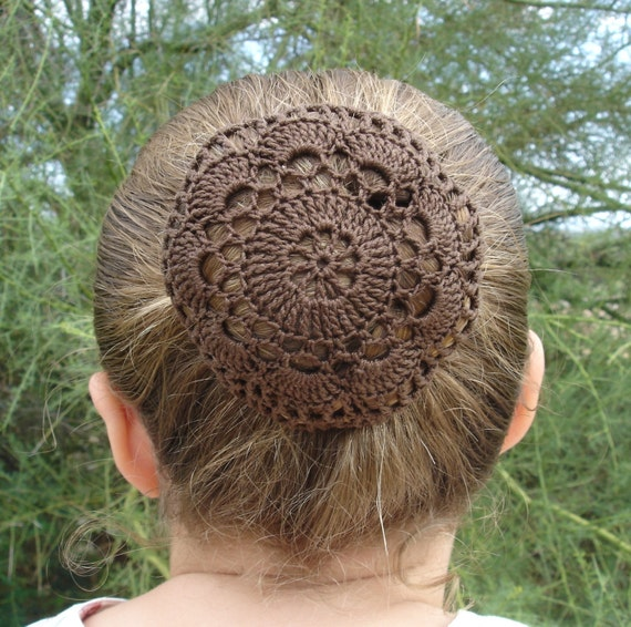 Crochet Hair On Net : Hair Net / Bun Cover Crocheted Brown Flower Style by mydesertdeals