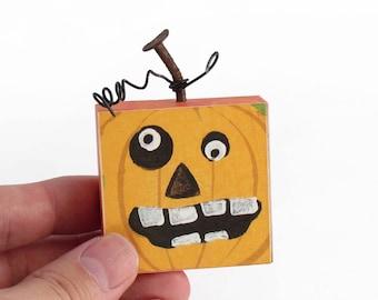 Jack O Lantern Mixed Media Magnet - Smiling Pumpkin Magnet - Haunted home decor