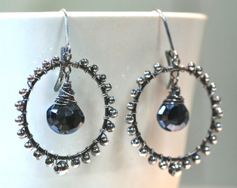 Sterling Hoop earrings with wirework and spinel gemstone