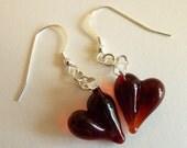 Handmade Red Glass Heart Earrings: Perfect Valentine's Gift!