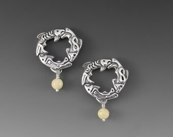 Salmon Spirit Sterling Silver Post Earrings with River Jasper