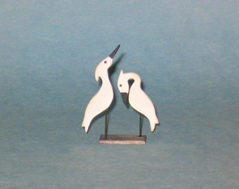 Pair of Miniature Heron Decoys - 1/12th scale