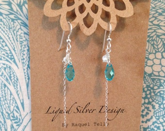 Aqua Briollette Swarovski Crystal Freshwater pearl and sterling silver chain dangle earrings. turquoise. Something Blue Gift. Made in Hawaii
