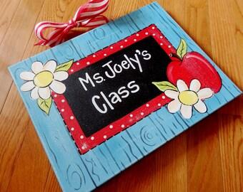 Rustic Shabby Chic Apple Daisy Chalkboard School Teacher Gift Custom Canvas Sign Door Hanger