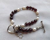 Garnet and Pearl Bracelet with Sterling Silver Star of David