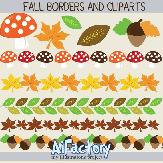 Holiday Fall Autumn thanksgiving mushrooms borders and icons clipart graphics set
