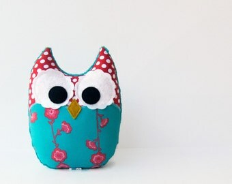 Coral Turquoise Owl Plush Stuffed Animal Nursery Decor